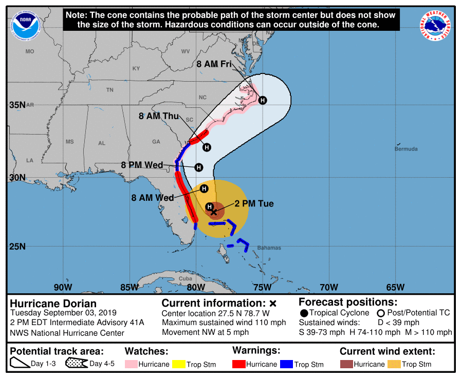Image of predicted hurrican path