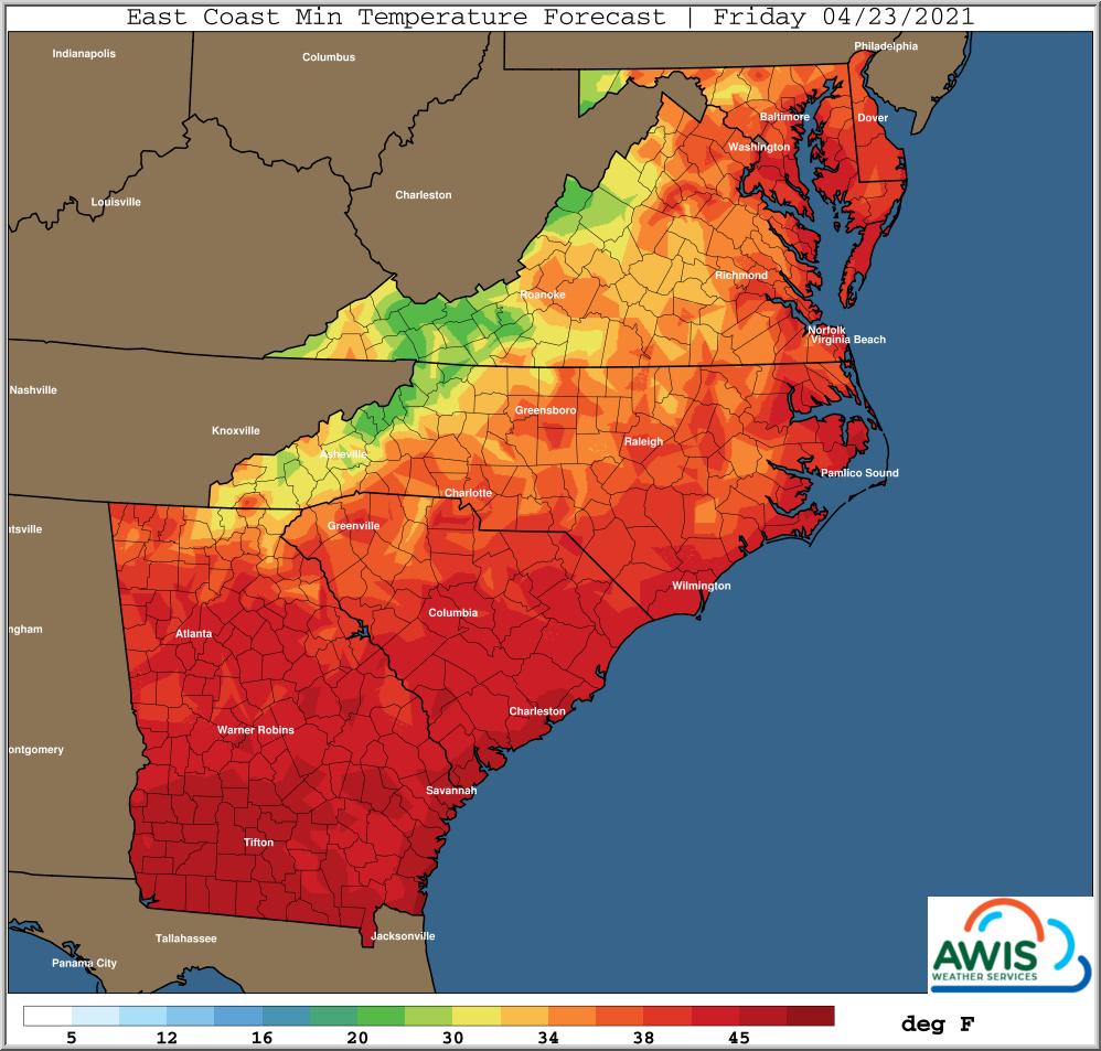 Minimum temp forecasts for Friday map